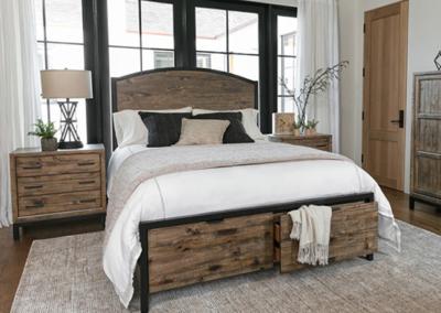 Dormitorio con grandes ventanas estilo rústico moderno